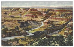 Looking North from the Watch Tower at Desert View, Grand Canyon, unused Curteich