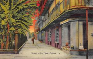 Pirate's Alley, New Orleans, Louisiana, Early linen Postcard, Unused