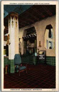 1930s Albuquerque, New Mexico Postcard FRANCISCAN HOTEL Lobby / Stairway View
