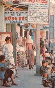SAIGON Main Street Scene VIETNAM Hàng Không Cộng Hòa Stamp 1969 Vintage Postcard
