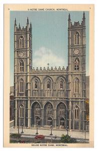 Canada Montreal Quebec Notre Dame Cathedral Church Vintage Linen Postcard