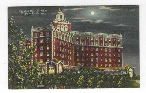 Cavalier Hotel at night, Virginia Beach, VA Linen Postcard
