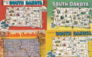 South Dakota Greetings From 4x Map Postcard s