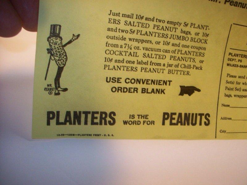 Mr Peanut Vintage Paint Set Planters Paper Sales Flyer 1955 Original Advertising