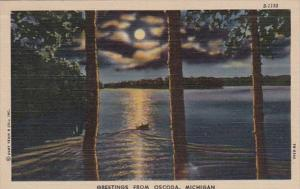 Michigan Greetings From Oscoda 1952 Curteich