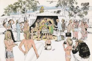 Australian Nudist Christmas Holiday Camp 1970s Postcard