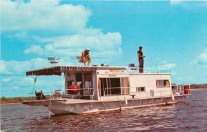Wabasha MN Fishing Atop Hiawatha Valley Cruise Houseboat~1960s Postcard