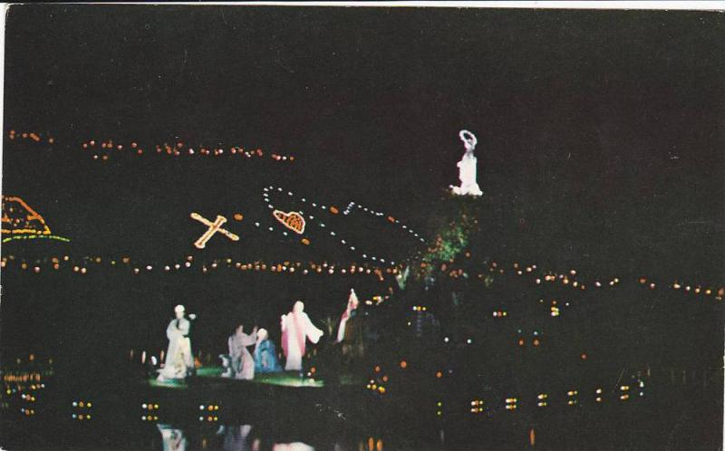 Night View of Torch Procession around the St, Mary´s Lake, Quebec, Canada, 4...