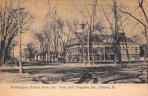 Ottawa Illinois~Washington School~Buildings on York & Congress Streets~1908 PC