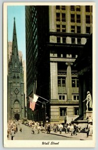 New York City~Office Workers on Wall Street~Bankers Trust~Washington Statue~1956