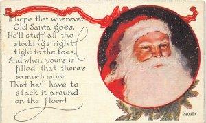 F42/ Santa Claus Merry Christmas Postcard c1910 Stuff Stockings 9