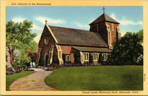 Vtg Church Of The Recessional Forest Lawn Memorial Park Glendale CA Postcard