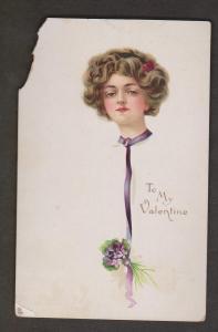 Beautiful Woman On Valentines Greeting Card - Unused - Heavy Damage