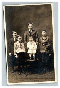 Vintage 1910's RPPC Postcard Portrait of Family of 6 Young Children