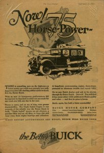 Now! 75 Horsepower The Better BUICK September 15, 1925 Laminated Advertisement