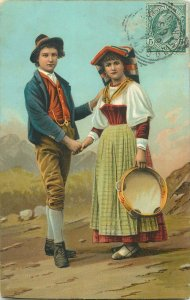 Ethnic Italy italian folk costumes naples napoletan types napoli tambourine