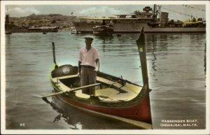 Malta Native Man Boat Dghajsa & Battleship #021 Tinted Real Photo Postcard