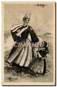 Postcard Old Loctudy Costume Folklore Headdress