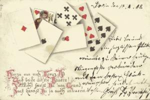 Playing Cards, Poker Gambling, Spades Hearts Diamonds Clubs, Jack (1902)