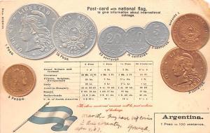 Coin Postcard, Old Vintage Antique Argentina