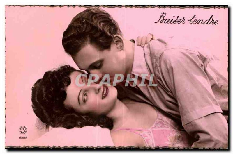 Postcard Old Woman Kiss tender