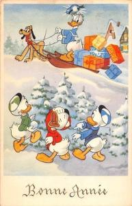 Postcard Bonne Annee, Donald Duck Cartoon characters, Christmas Disney Pluto