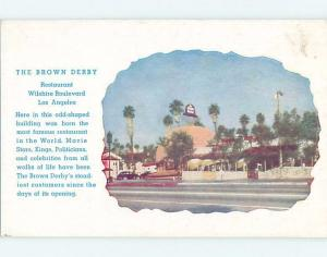 1940's FAMOUS BROWN DERBY RESTAURANT Los Angeles California CA B9988