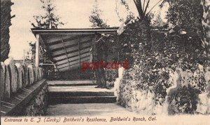 c1907? BALDWIN'S RANCH CA Entrance to ET (Lucky) Baldwin's Residence, man posing