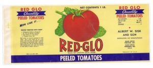 Red-Glo Peeled Tomaotes Aberdeen MD Vintage Can Label