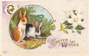 Easter~Black White Brown Bunnies in Ferns~Lavender White Art Nouveau~Emboss~NASH