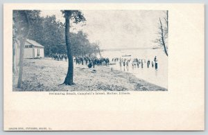 Moline Illinois~Campbell's Island~Crowded Swimming Beach~Bath House~c1905 B&W PC