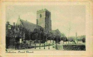 Folkestone Parish Church Cemetery Eglise Postcard
