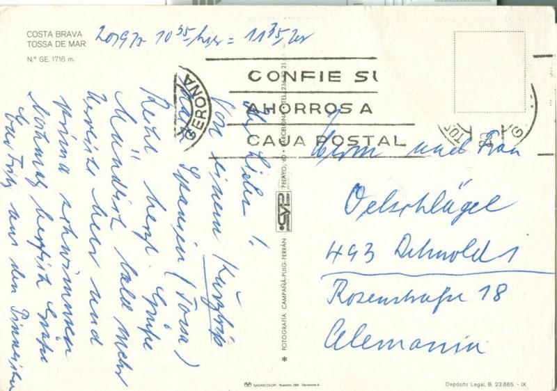 Spain, Tossa de Mar, used Postcard