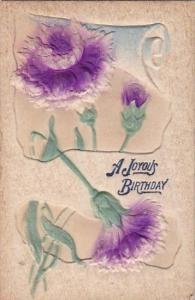 Birthday Greetings Purple Flowers Embossed 1911