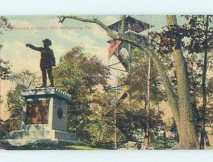 Divided-back CIVIL WAR STATUE Gettysburg Pennsylvania PA AD4887