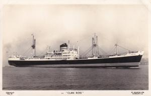 MV Clan Ross Scottish Scotland Line Ship Plain Back Postcard Photo