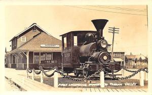 Fairbanks AK Railroad Station Train Depot 1st Locomotive RPPC Postcard