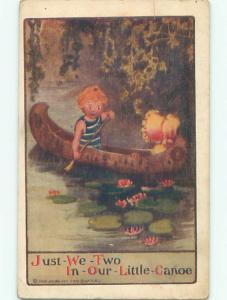 Pre-Linen SUNBONNET TWIN IN CANOE BOAT WITH BOY J3182