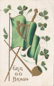 Saint Patrick's Day With Shamrocks & Harp 1908