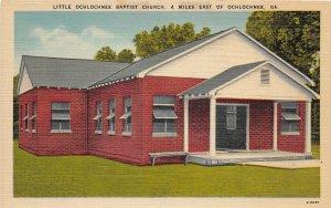 F33/ Ochlochnee Georgia Postcard Linen Little Baptist Church Building