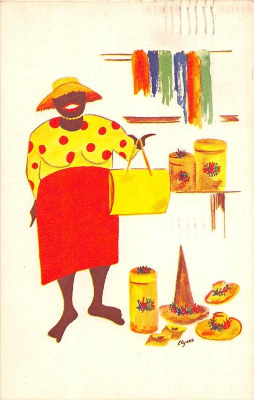 Foreign Postcard 1966 BAHAMAS Carribean BASKET LADY 14