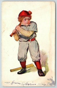 Somerset Ohio Cancel~Little Leaguer Baseball Player Ready For Pitch~1909 J Tully