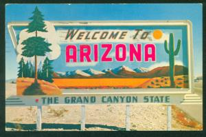Grand Canyon Sign Welcome to Arizona AZ State Tourist Attraction Postcard