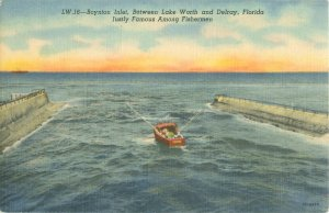Boynton Inlet Fisherman Florida Linen Postcard