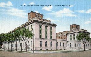 U.S. Customs House from Broadway, Denver, Colorado Tree Lined Linen Postcard