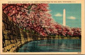 Vtg 1930s Washington Monument Cherry Blossoms Tidal Basin Washington DC Postcard