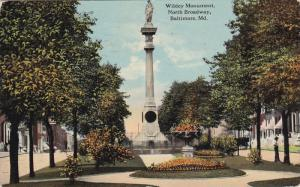 BALTIMORE, Maryland, PU-1912; Wildey Monument North Broadway