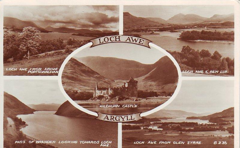 P1288 vintage valentine,s RPPC multiview loch awe argyll scotland