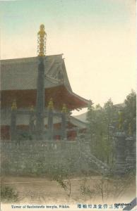 C-1910 Japan Tower Sanbutsudo Temple Nikko hand colored 10755