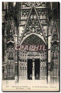 Old Postcard Rouen Cathedral of La Calende portal